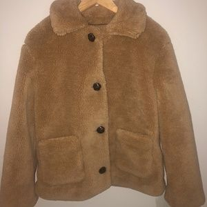 Philosophy Light Brown Fuzzy Coat with Buttons